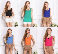 2014 hot summer Women Slim Fit Chiffon Blouses Top Vest Shirts Trendy Shirt S-XXL size candy color free shipping