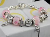 B016free shipping fashion pink glass beads bracelets Charm bracelets 925 sterling silver plated heart pendant bracelet