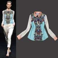 free shipping 2014 new fashion woman casual Transformers printing  long sleeve blue blouse sexy lady famous popular brand shirt