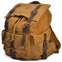 Men Vintage Leather Military Canvas Hiking Backpacks Men & Women School Backpacks Travel Boy Canvas Backpack Sports Large bag a1