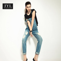 JYL jeans 2014 Autumn/Winter bib women's jeans with hole,acid wash casual worksuit blue jeans denim overalls jumpsuit rompers