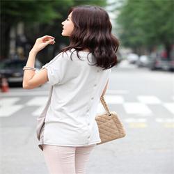 Шифон в форме крыла летучей мыши короткий рукав тис женщины / элегантный с v-образным вырезом задняя часть пуговица T - рубашки топы женщины / лето одежда