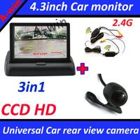 universal car monitor camera CCD HD Universal wireless car rear view parking camera and 4.3inch car monitor TFT LCD