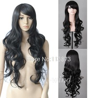 2014 New 32inch 80cm Long Wavy Curly hair free Anime Cosplay Wig costume Party Wig synthetic wigs Full styling hair head black