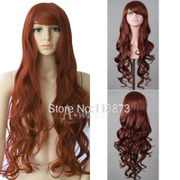 Free shipping 2014 New 32inch 80cm Long Wavy Curly hair Anime Cosplay Wig Party styling hair Full head Wigs synthetic wigs Brown