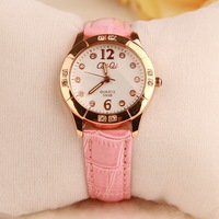 2014 new arrivals korean diamon student watches girls wrist watch quartz leather band watches for women