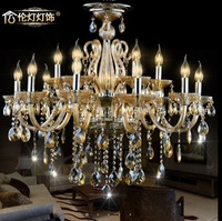 New European style simple crystal chandeliers modern amber living room crystal light with 6 heads