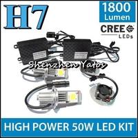 1Set H7 50W CSL Car headlight LED lamp CREE CHIP 6000K Lumens 1800K Beam Angle 360