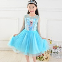 2014 new summer fashion Frozen Princess Elsa anna Dress Cosplay Costume Dress Girl chindren kids tutu lace Dress