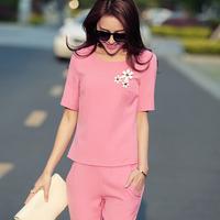 2014 summer slim solid color top capris twinset female short sleeve casual set