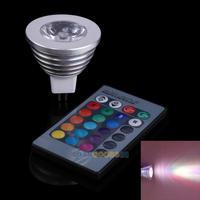 LS4G 3W RGB 12V MR16 LED Spotlight 16 Colors Lamp Light with Remote Control