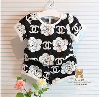 New 2014 Summer Children's Clothing Boy Girl Baby cc Printed Letter Short sleeve T-Shirt + Shorts Pants kids Two Pcs Set / 2-7