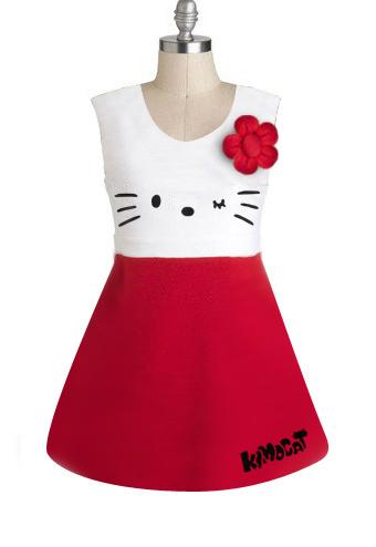 Hot sale ! European Style Sleeveless Cartoon Girl's Summer Dress Hello Kitty Flowers Party Dresses Princess Free Shipping(China (Mainland))