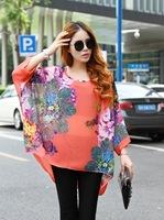 6002 women new 2014 summer autumn maternity blouse shirt print stripe casual batwing chiffon blusa tops 4xl 5xl 6xl plus size