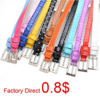 Factory wholesale Fashion Women's Candy Color  PU Leather Thin Skinny Waistband Belt 250PCS