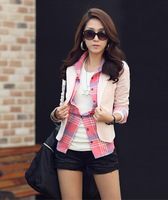 2014 New Fashion Winter Women Slim Blazer Coat Casual Jackets Long Sleeve O-Neck Bowknot One Button Suit OL Outerwear DA1517