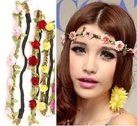 Wholesale Free shipping Hot Sale New Fashion Women Bohemia Beach Flower Hair Bands Headband Hair Accessory Headwear elastic rope