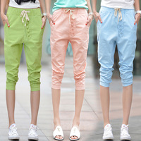 2014 New Summer casual harem pants linen cotton button vintage short women trouser capris lady pants white,green,blue,pink S~XXL