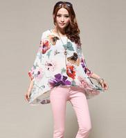 New 2014 women shirt Chinese ink painting style big flower bat sleeve shirt Chiffon blouses wild sun loose chiffon shirt