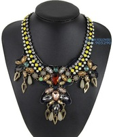 2014 European Women Handmade Statement Exaggerate Chunky Chain Crystal Flowers Long Choker Necklaces & Pendants NK500