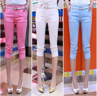 2014 New Summer casual pencil pants stretchy cotton short women trousers capris lady pants Pink,White,Blue Green S~XL