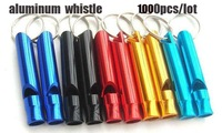 1000pcs/lot free shipping dhl, aluminum whistle outdoor survival whistle, wholesale Key Chain Camping Hiking Emergency Whistle