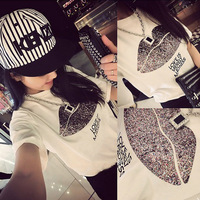 Summer New Arrival 2014 Cotton O-Neck Fashion Slim Sliver Mouth Print Short-sleeve Women's T-shirt 6301-1024