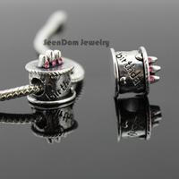 """Best Quality 5Pcs/Lot """"Happy Birthday"""" Beads 925 Silver CZ Stone Birthday Cake Charms Fits DIY European Bracelet SeenDom Jewelry"""