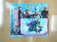 Free Shipping 20pcs Frozen Watch Set Cartoon Children Wristwatch Watch Set Purses(Watch +Wallet) Blister Packing Fast Shipping