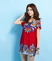 Hot sale fashion new Summer women dress Korean yards ethnic paisley dress Crystal Hemp Rhinestone Lady  Dress