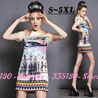 S-5XL Brand Ladies European Oil Painting Print Short Sleeve Pencil Dresses 2014 New Summer Fashion Plus Size Women Clothing G110