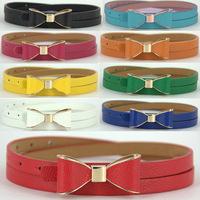 Fashion Women's Candy Color Big Bowknot PU Leather Thin Skinny Waistband Belt 200PCS