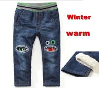 2014 france brand designer kk rabbit boys jeans for winter flog patchwork thicken warm long pant for baby boys 3-7yrs