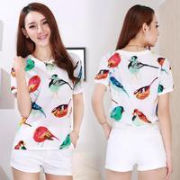 Women's summer t shirt crop top t shirt chiffon plus size shirt short-sleeve loose print chiffon women clothing D295