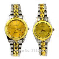 Rosra Golden Stainless Steel Straps Lovers' Men Womens Lady Quartz Wrist Watches Relogio Feminino Clockes Luxury WristWatch Gift