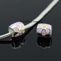 5Pcs/Lot Quality Spacer Beads 925 Silver Big Hole Colorful Enamel Flower Charms Fits DIY European Bracelet SeenDom Jewelry