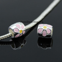 5Pcs/Lot Quality Spacer Beads 925 Silver Big Hole Colorful Enamel Flower Charms Fits DIY European Bracelet SeenDom Jewelry