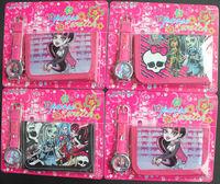 Free shipping 10 set Monster High cartoon wallet New girl's watches and kids lovely children purse girl Wristwatch