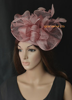 Heather pink big sinamay fascinator hat for kentucky derby wedding,ascot races,melbourne cup,kentucky derby.