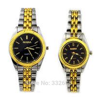 Rosra Golden Stainless Steel BeltsBlack Face Lovers' Men Women Ladies Quartz Wrist Watch Relogio Feminino Clock WristWatch Gifts