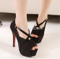 2014 new Korean high-heeled shoes, fish head waterproof suede cross straps princess wedding shoes women shoes sandals XG190