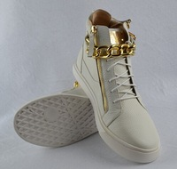 Men and women GZ Sneakers Genuine leather White Litchi pattern Gold chain flat short boots size 35-45