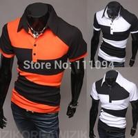 Men's clothing base Personality color block decoration irregular short-sleeve male t-shirts white black and orange