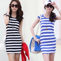 New Fashion Women's Dresses Hot Selling Casual Stripe Bodycon Slim One Piece Dress 2014 Spring Summer Women Clothing