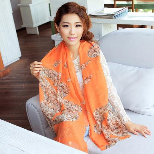 Spring leopard print skull scarf female long design scarf thin chiffon silk scarf sun cape(China (Mainland))