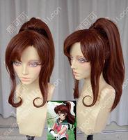 malaysian ombre Sailor Moon Jupiter Makoto Kino Brown Cosplay Party Wig w/ Ponytai Medium Kanekalon Hair no lace Fiber All wigs