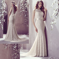 2014 Free Shipping Factory Custom High Quality Mermaid Scoop Lace Neck Low Back With Sash Bridal Wedding Dresses