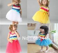 4pcs/Lot In Stock Children Girl Princess Dress Spaghetti Strape Rainbow Girl's Dresses Size 80 90 95 100 Four Colors Drop Ship