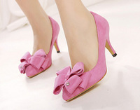 Spring 2014 new Korean high-heeled shoes big bow princess diamond wedding shoes with thin pointed shoes FREE SHIPPING XG198