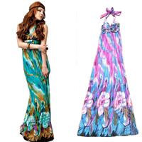 2014 Hot sale fashion women dress Halter Bohemian ice silk V-neck dress beach dress milk silk dress nation's for female